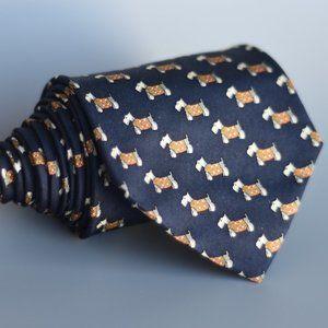 J. Crew 100% Silk Italian Tie Scottish Terrier Dog